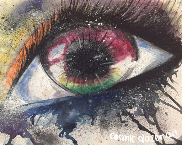 Watercolor Eye I sticker sacred geometry sunproof waterproof watercolor art
