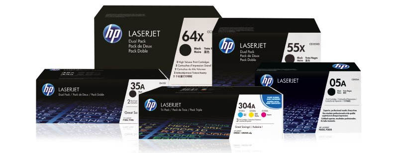 HP LaserJet toner cartridge boxes: 64x, 55x, 35A, 304A, and 05A
