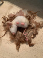 Needle Felted wool mouse with posable tail on a nest of needle felted karakul Locks $30