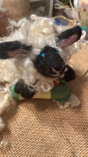 Needle Felted curly sheep
