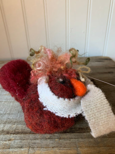 Cardinal with wool scarf