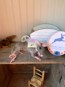 Gray Mouse posable needle felted wool sculpture