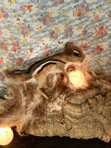 Chipmunk needle felted wool and wire sculpture