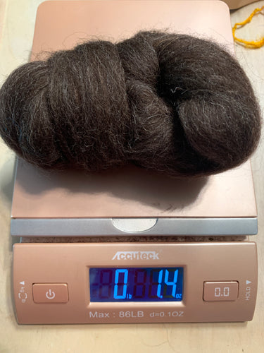 Shetland natural dark brown combed top roving