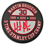 MARTIN BRODEUR Signed Puck New Jersey Devils Cups