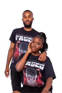 FACES T-SHIRT GREY/RED