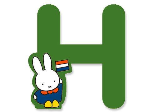 H (Green) - A to Z Miffy Wooden Letter