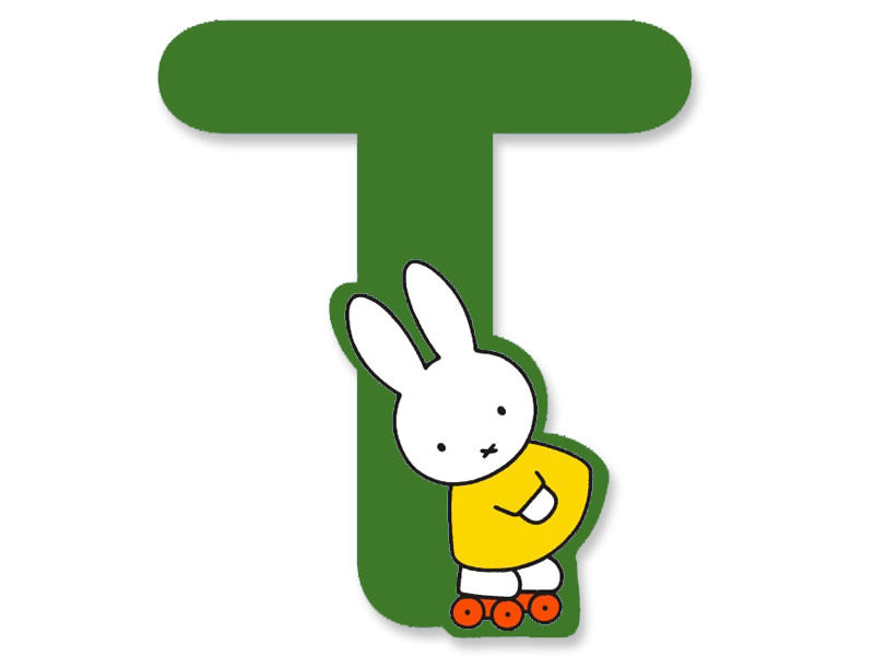 T (Green) - A to Z Miffy wooden letter A to Z Miffy Wooden Letter