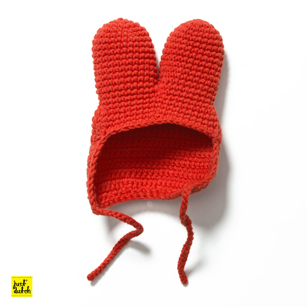 Crochet red hood for Miffy Handmade