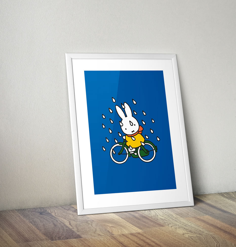 Miffy on Her Bike in the Rain Framed Mini Poster Framed Mini Poster