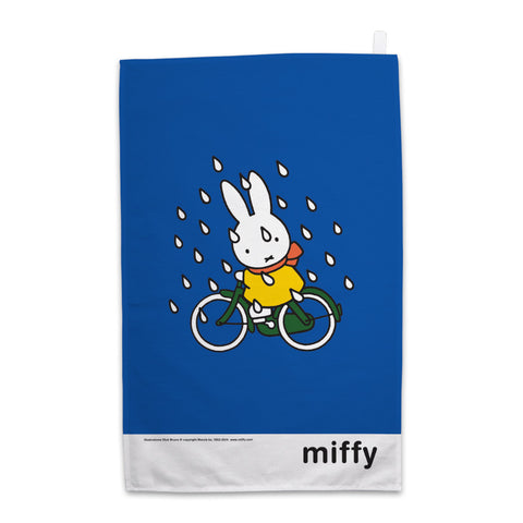 Miffy on Her Bike in the Rain Tea Towel