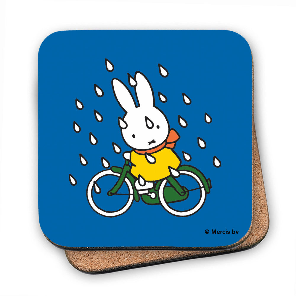 Miffy on Her Bike in the Rain Cork Coaster