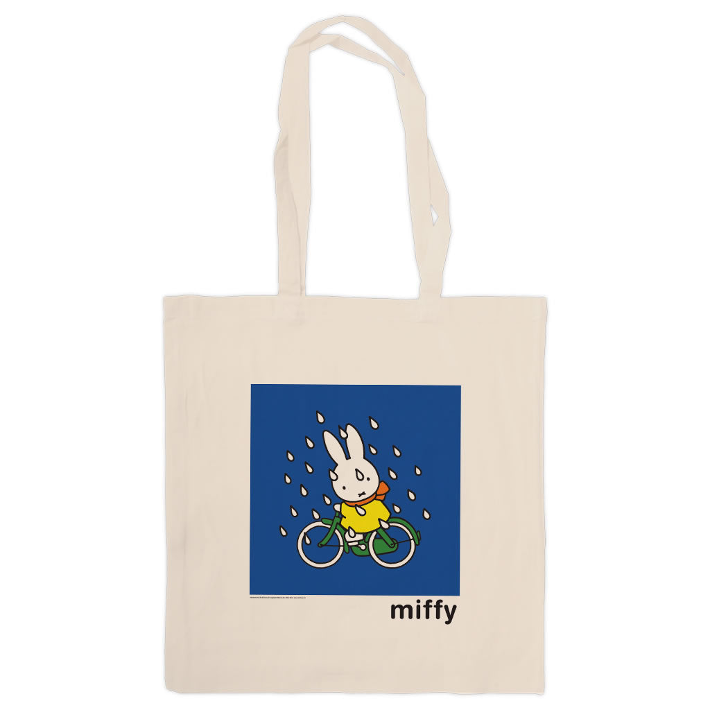 Miffy on Her Bike in the Rain Tote Bag