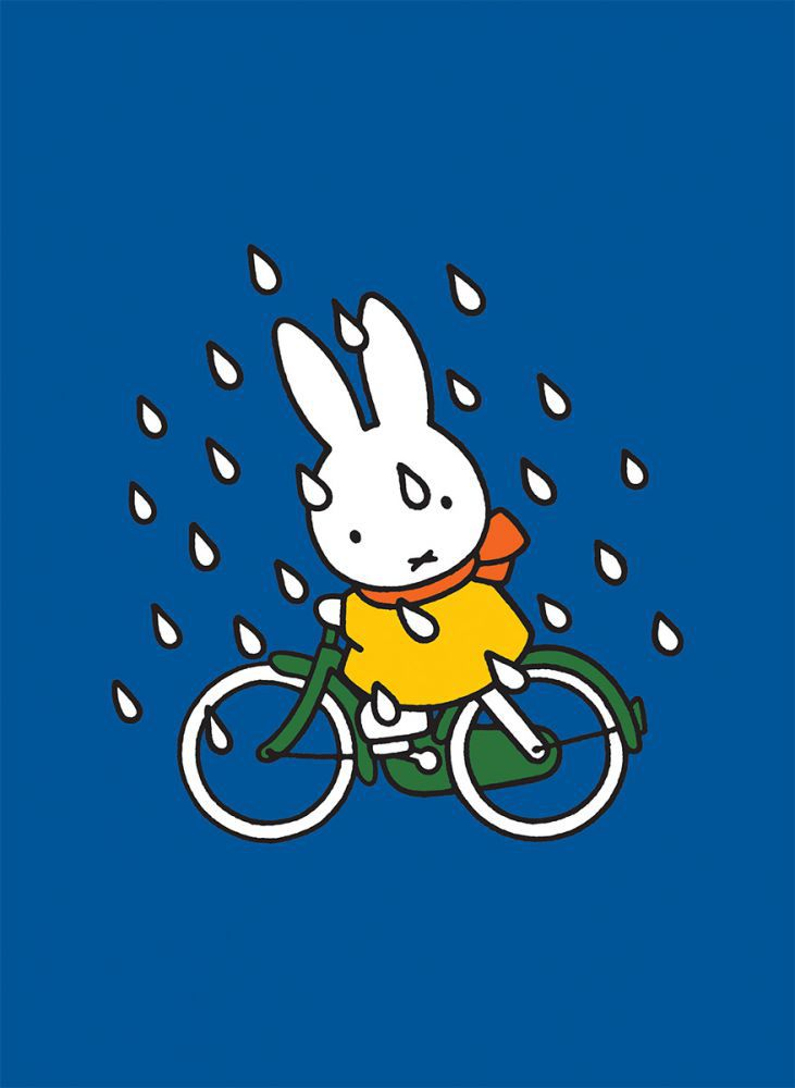 Miffy on Her Bike in the Rain Mini Poster Mini Poster
