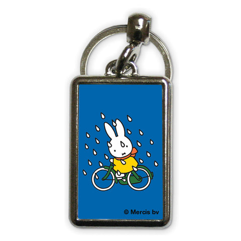 Miffy on Her Bike in the Rain Metal Keyring