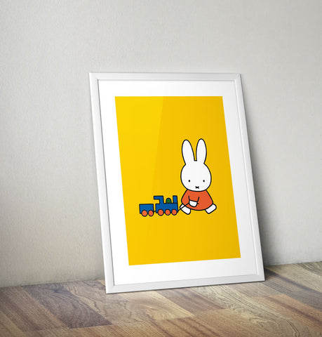 Miffy Pulling a Toy Train Framed Mini Poster Framed Mini Poster