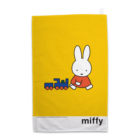 Miffy Pulling a Toy Train Tea Towel