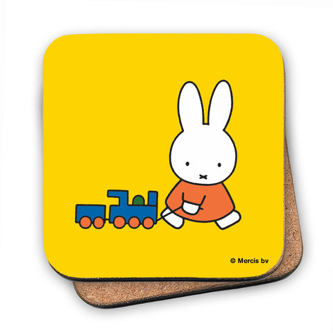 Miffy Pulling a Toy Train Cork Coaster