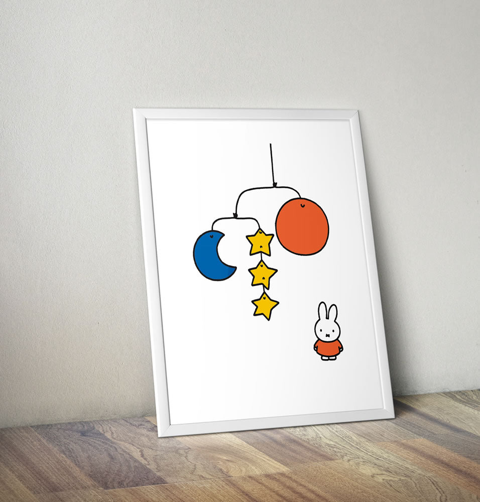 Miffy with a Planet Mobile Framed Mini Poster Framed Mini Poster