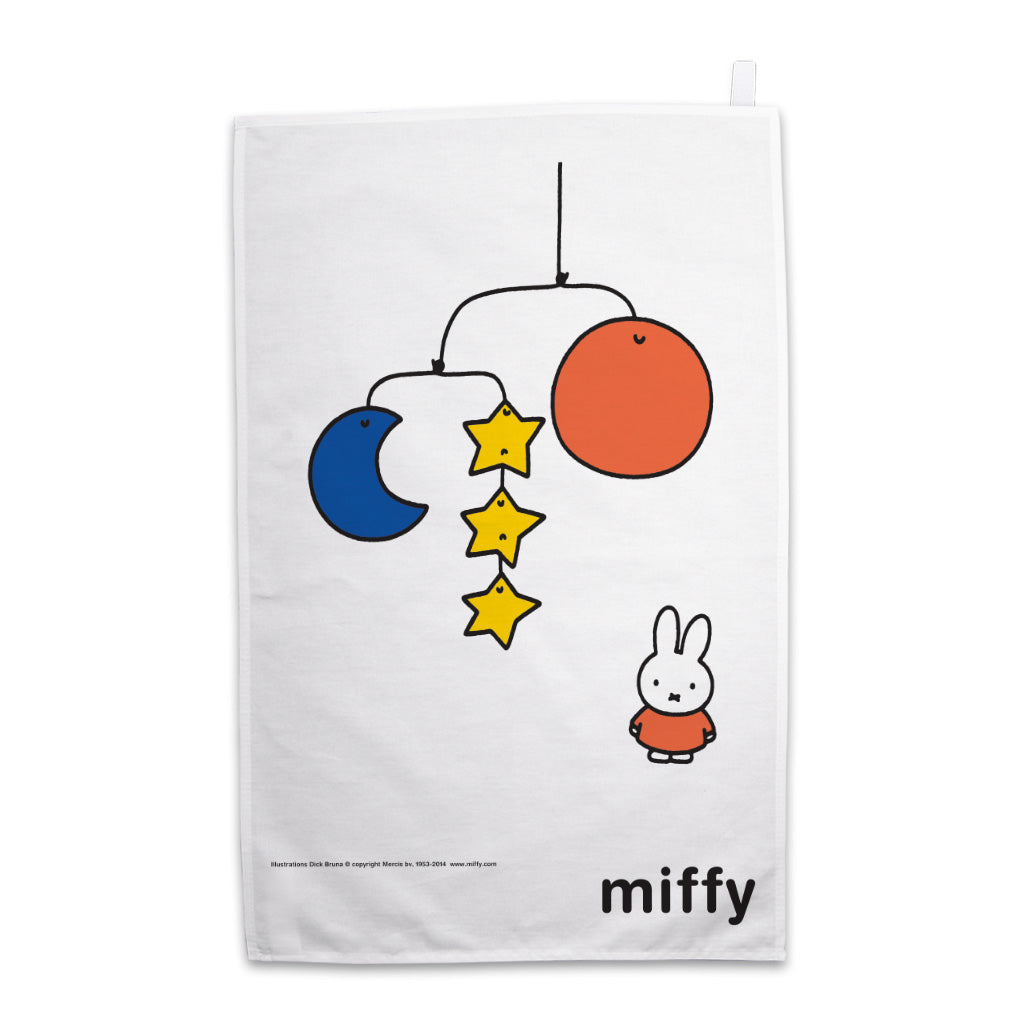 Miffy with a Planet Mobile Tea Towel