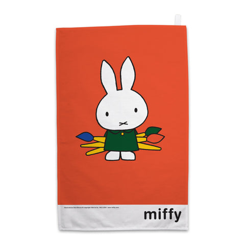Miffy Holding Paintbrushes Tea Towel