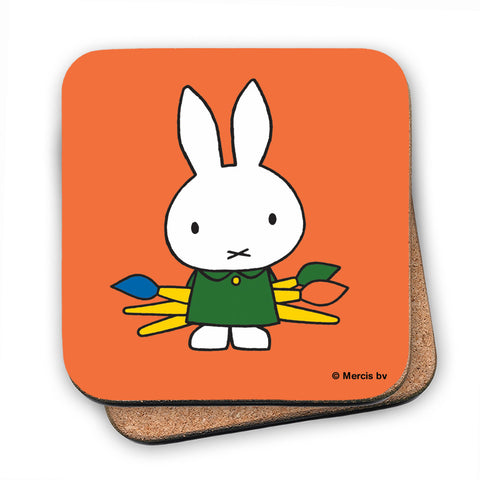 Miffy Holding Paintbrushes Cork Coaster