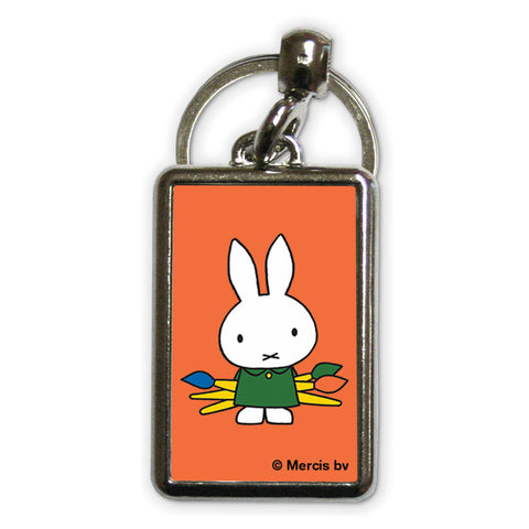 Miffy Holding Paintbrushes Metal Keyring