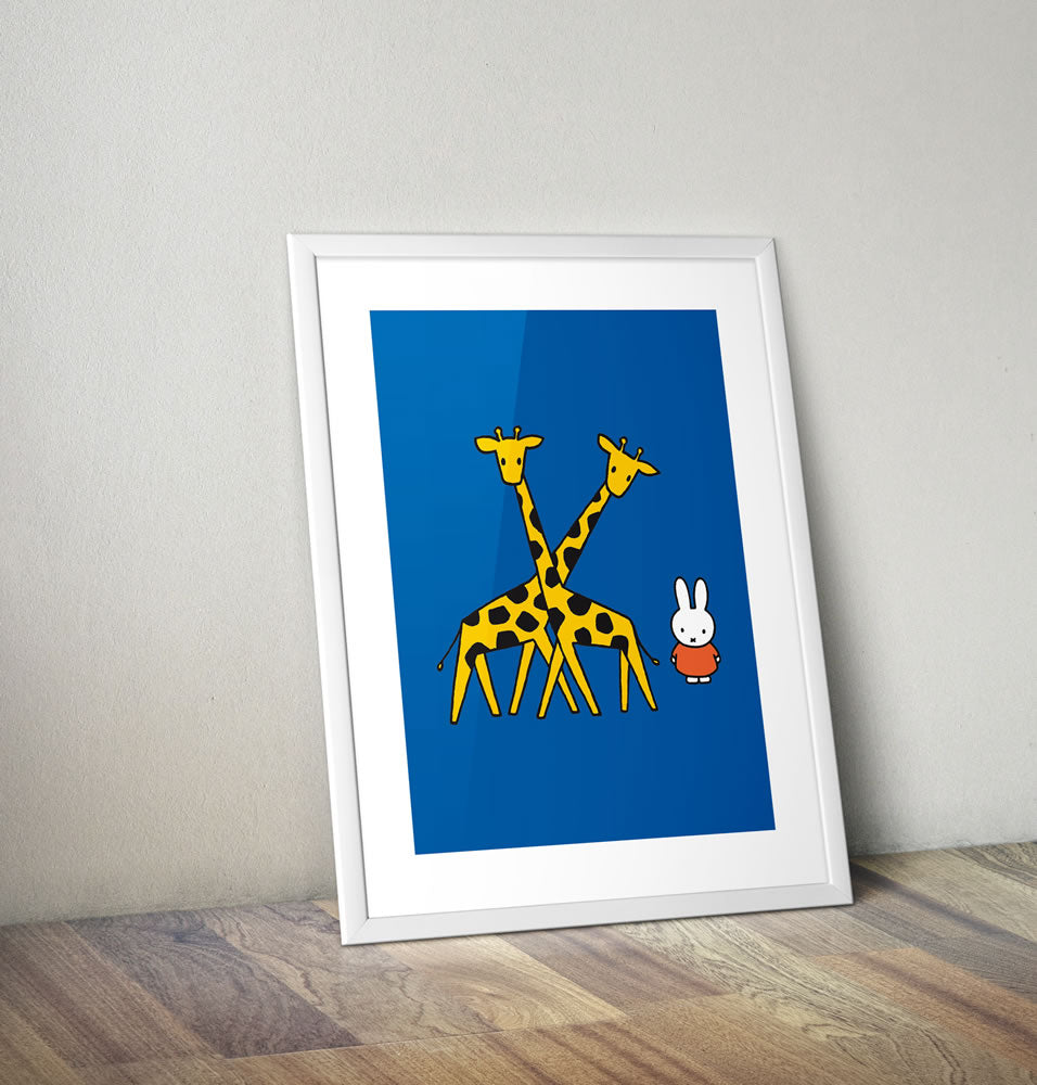 Miffy with Two Giraffes Framed Mini Poster Framed Mini Poster