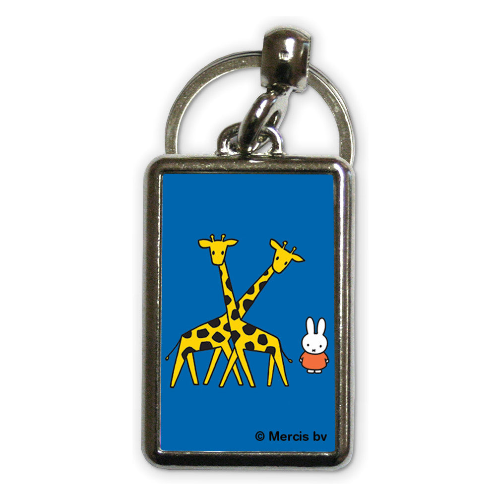 Miffy with Two Giraffes Metal Keyring