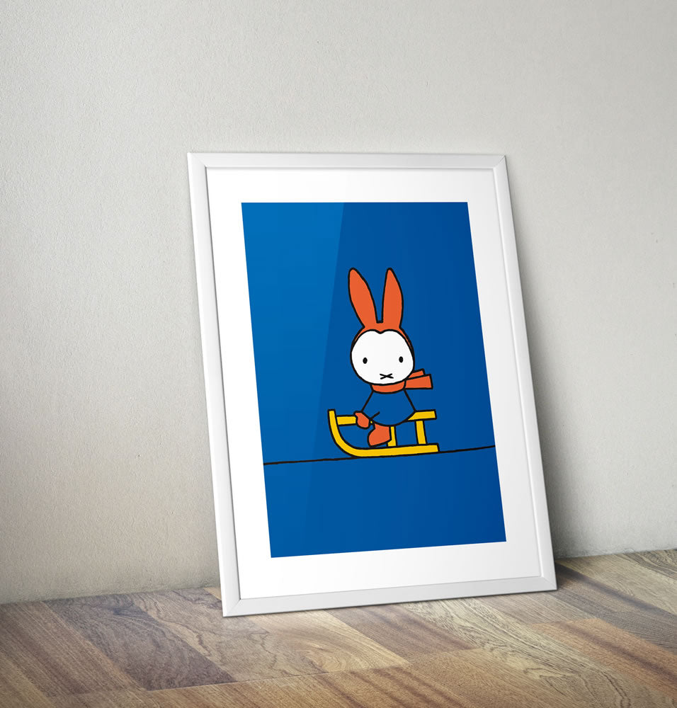 Miffy Playing on a Sleigh Framed Mini Poster Framed Mini Poster