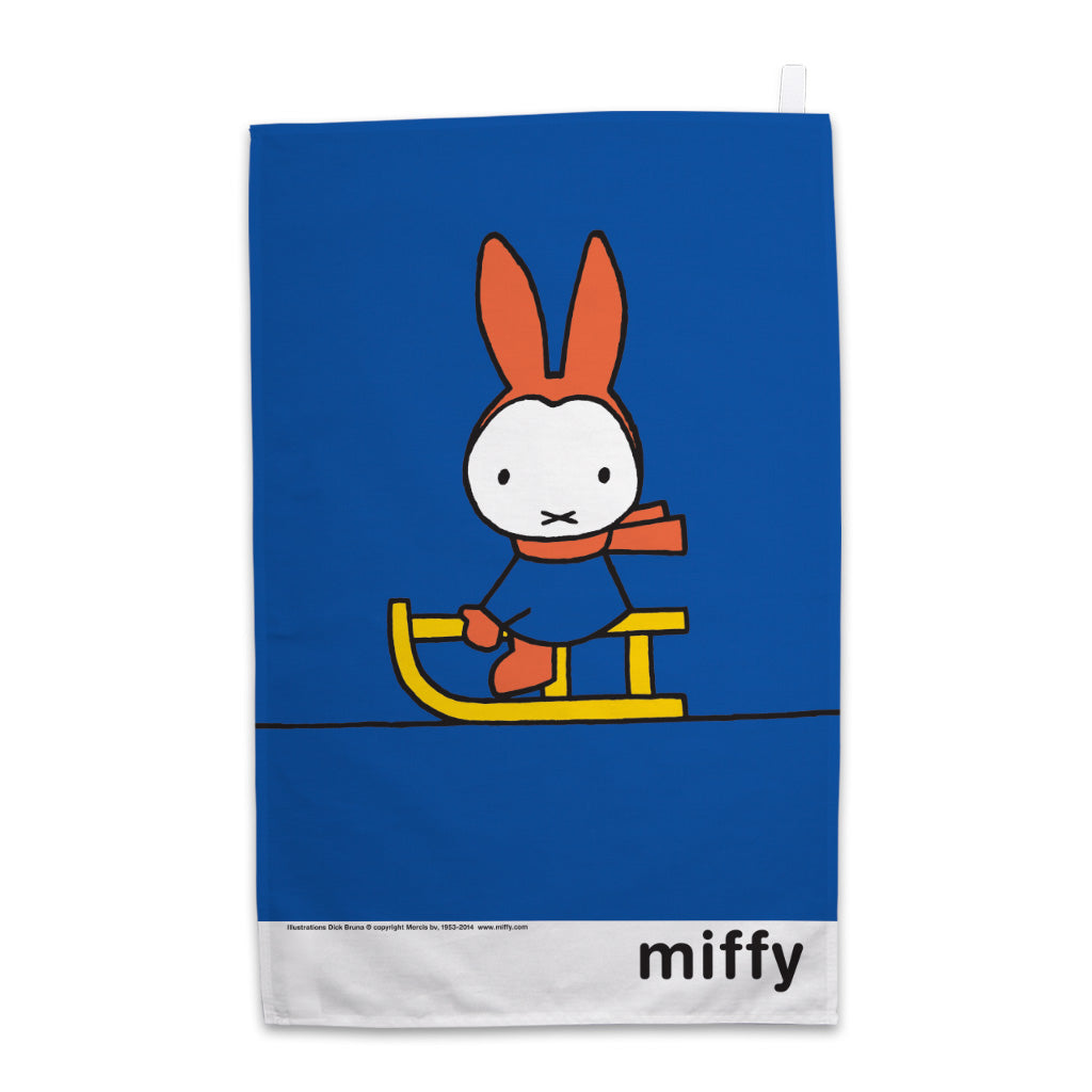 Miffy Playing on a Sleigh Tea Towel