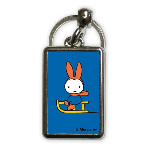 Miffy Playing on a Sleigh Metal Keyring