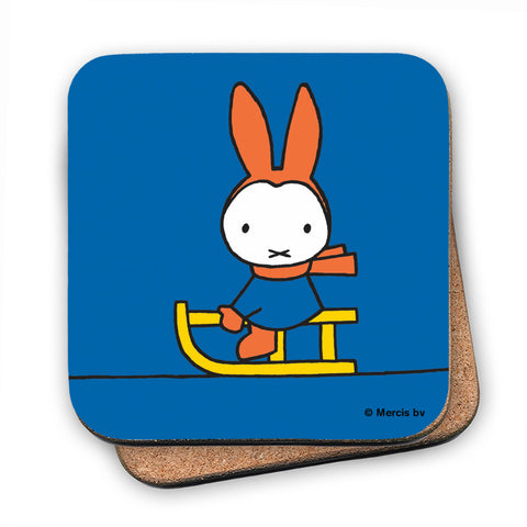 Miffy Playing on a Sleigh Cork Coaster