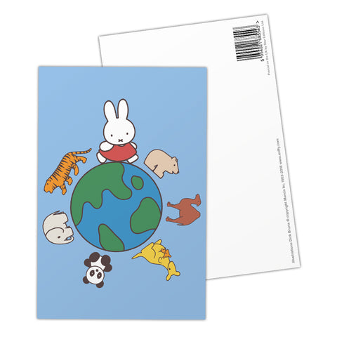 Miffy Animals Globe Postcard