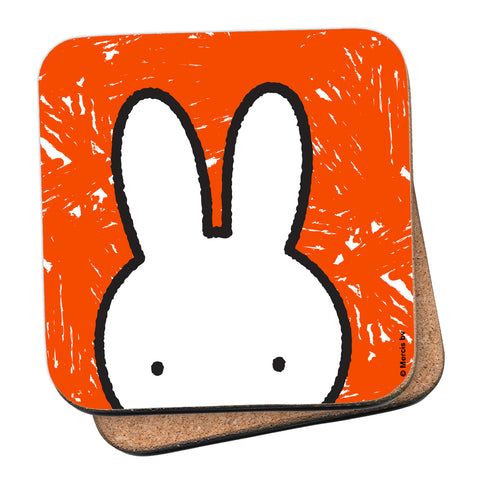 Miffy Eyes Orange Background Cork Coaster