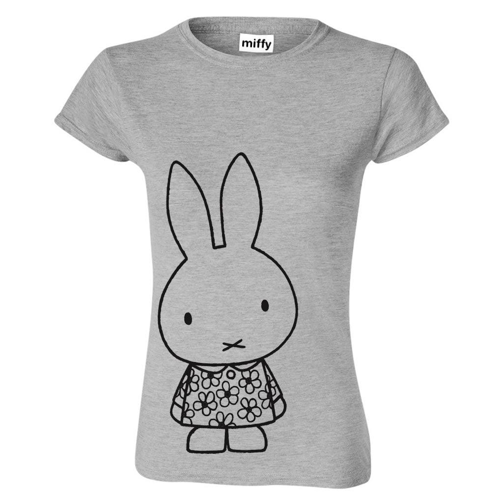 ladies miffy grey and black outline T-Shirt