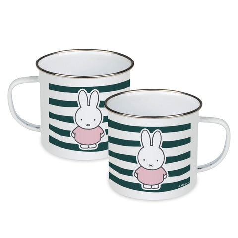 miffy floral expression stripes enamel mug