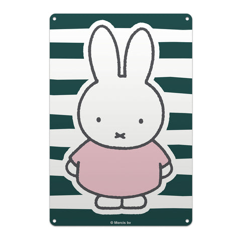 miffy floral expression stripes metal sign