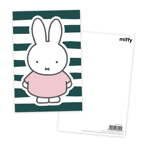 miffy floral expression stripes postcard