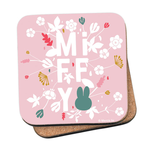 miffy floral expression pink coaster