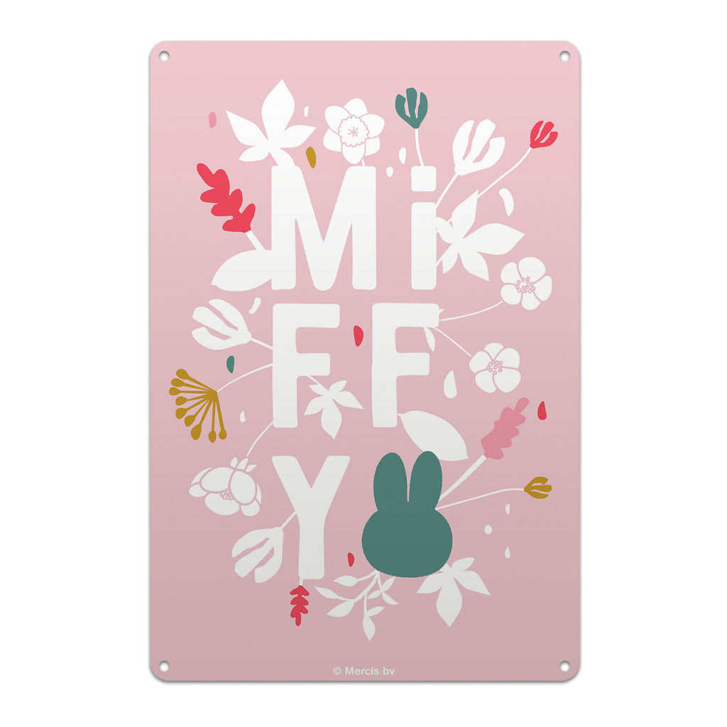 miffy floral expression pink metal sign