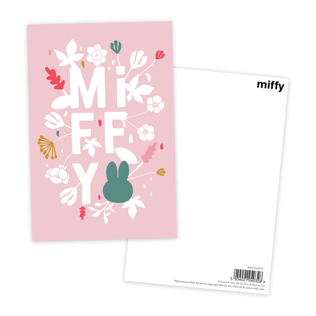 miffy floral expression pink postcard