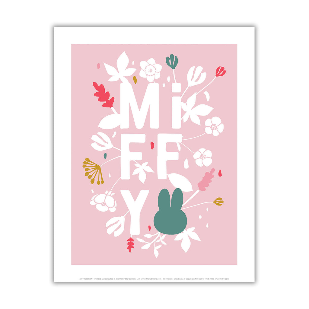miffy floral expression pink mini poster