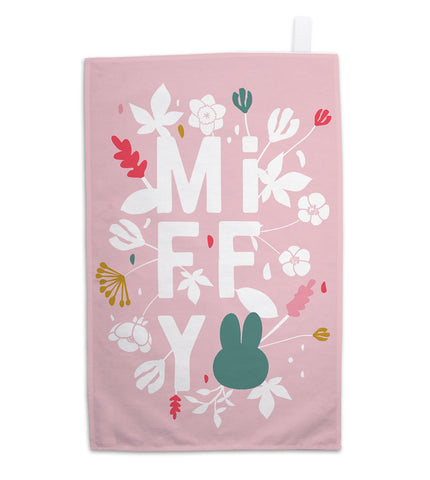miffy floral expression pink tea towel