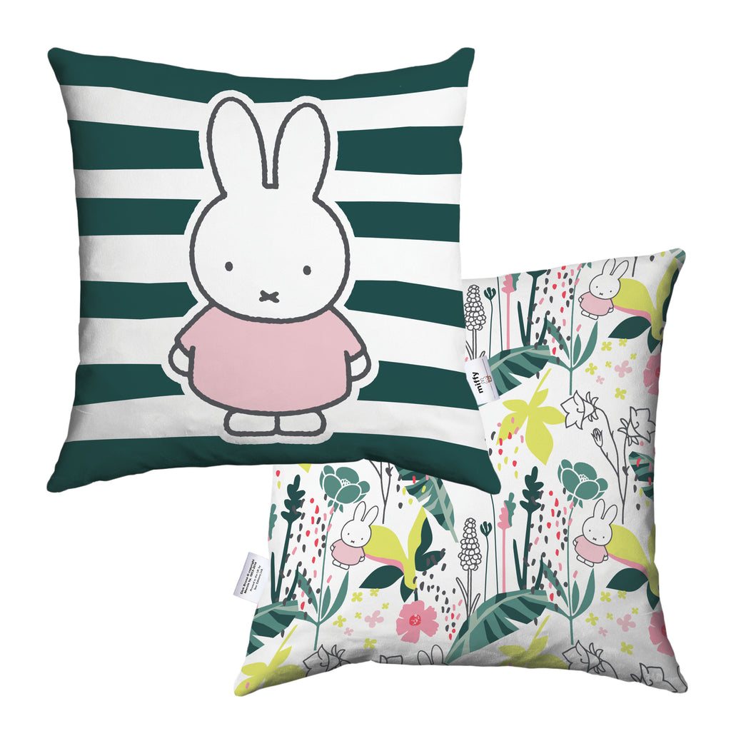 miffy floral expression stripes cushion