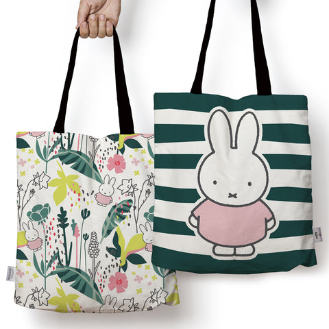 miffy floral expression stripes edge to edge tote bag