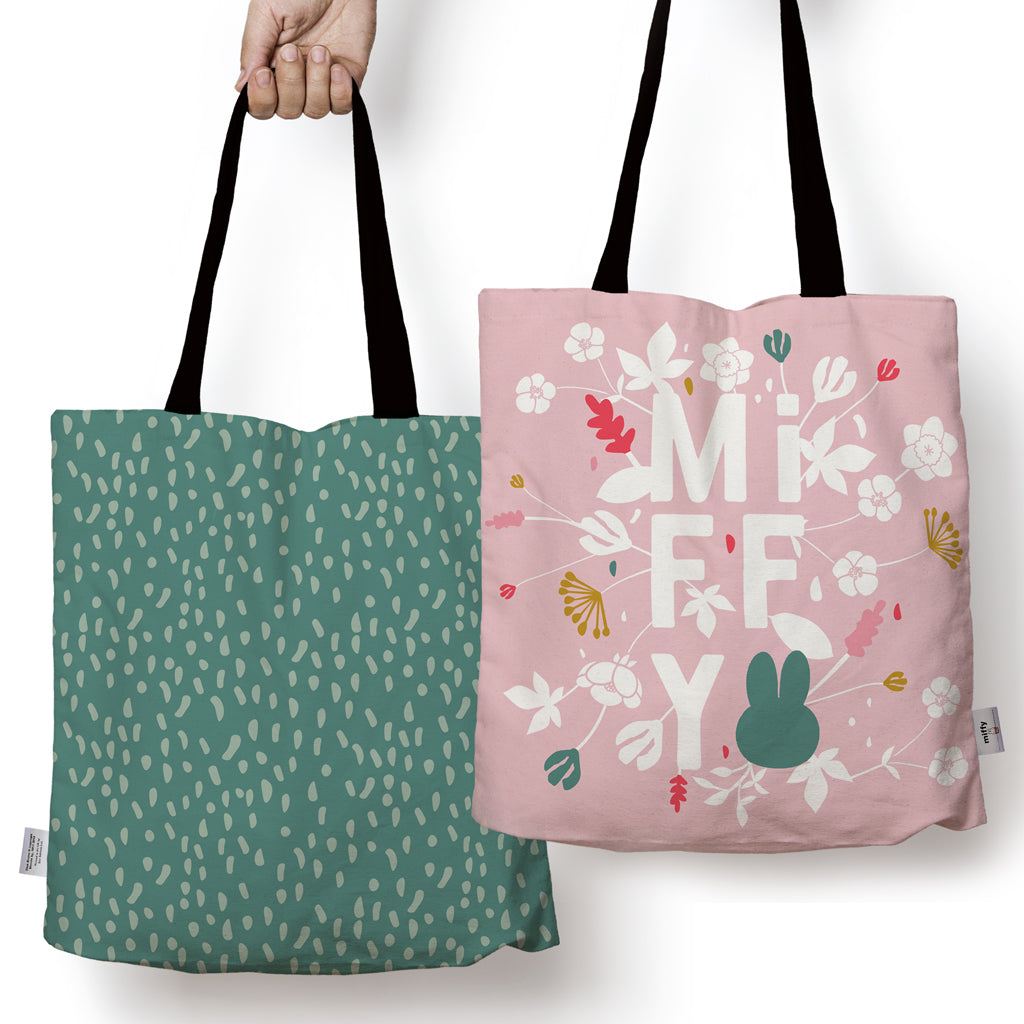 miffy floral expression pink edge to edge tote bag