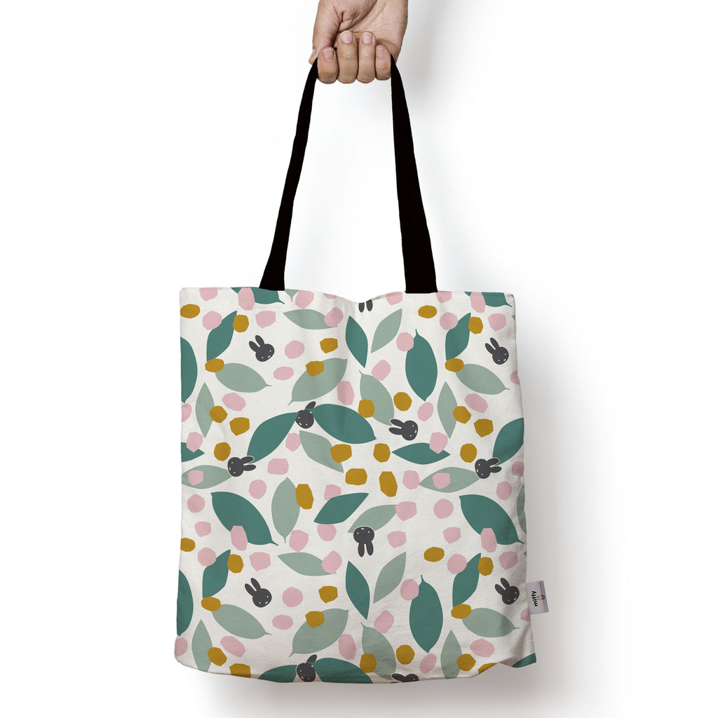 miffy floral expression teal edge to edge tote bag