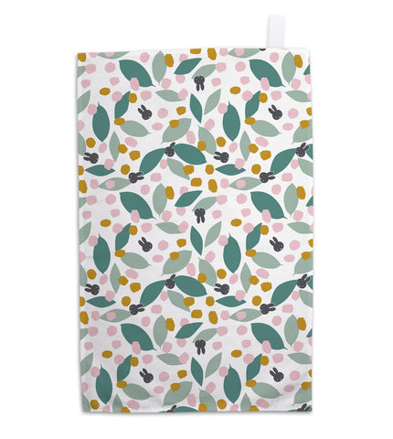 miffy floral expression teal tea towel