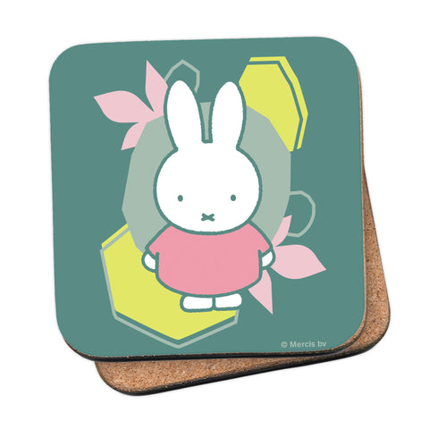 miffy floral expression pink dress coaster